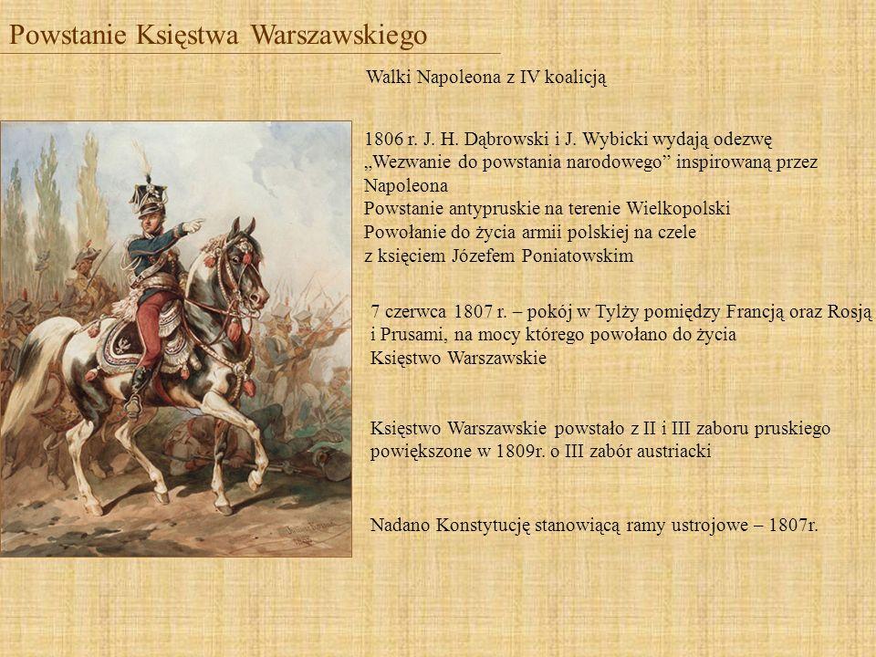 Powstanie Księstwa Warszawskiego Walki Napoleona z IV koalicją 7 czerwca 1807 r. – pokój w Tylży pomiędzy Francją oraz Rosją i Prusami, na mocy któreg