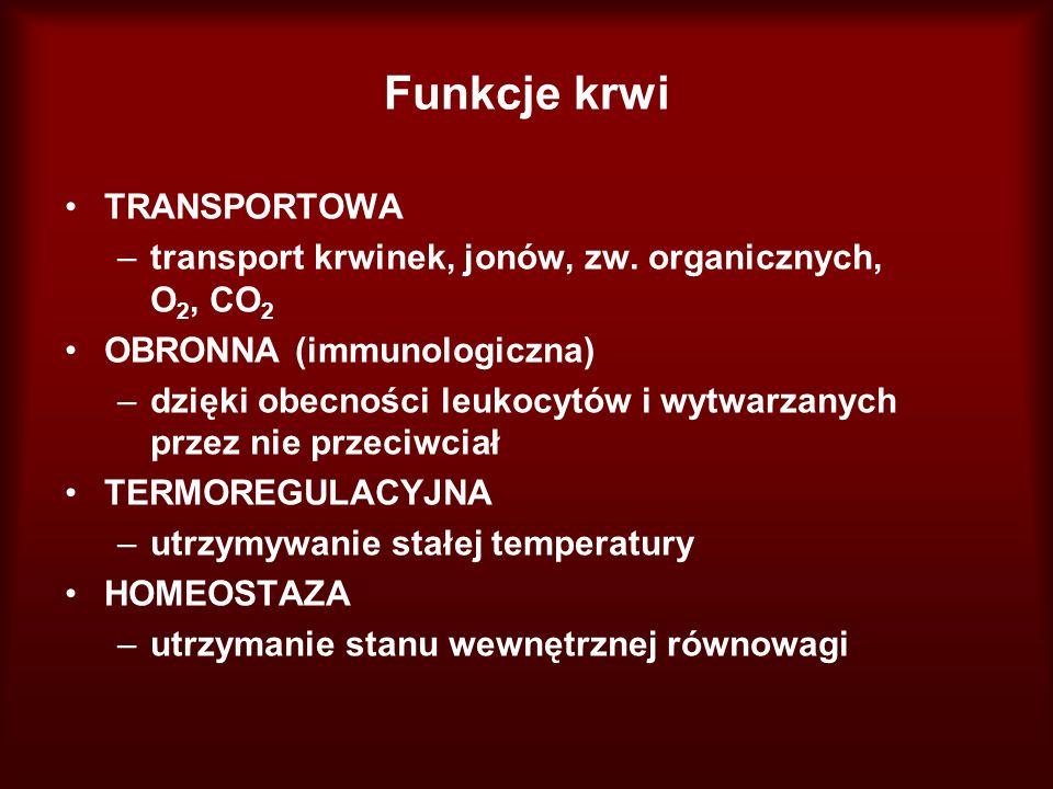 Funkcje krwi TRANSPORTOWA –transport krwinek, jonów, zw. organicznych, O 2, CO 2 OBRONNA (immunologiczna) –dzięki obecności leukocytów i wytwarzanych