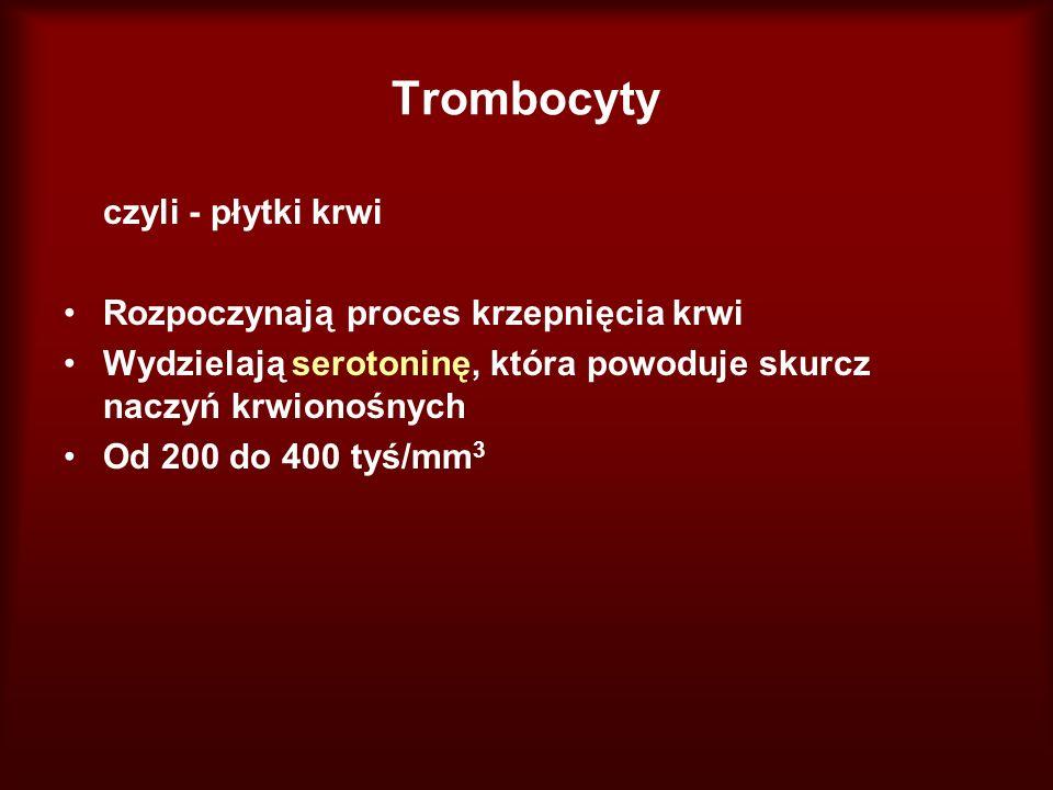 Trombocyty czyli - płytki krwi Rozpoczynają proces krzepnięcia krwi Wydzielają serotoninę, która powoduje skurcz naczyń krwionośnych Od 200 do 400 tyś