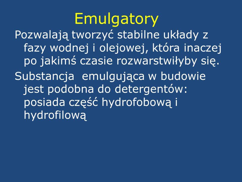 Emulgatory Pozwalają tworzyć stabilne układy z fazy wodnej i olejowej, która inaczej po jakimś czasie rozwarstwiłyby się. Substancja emulgująca w budo