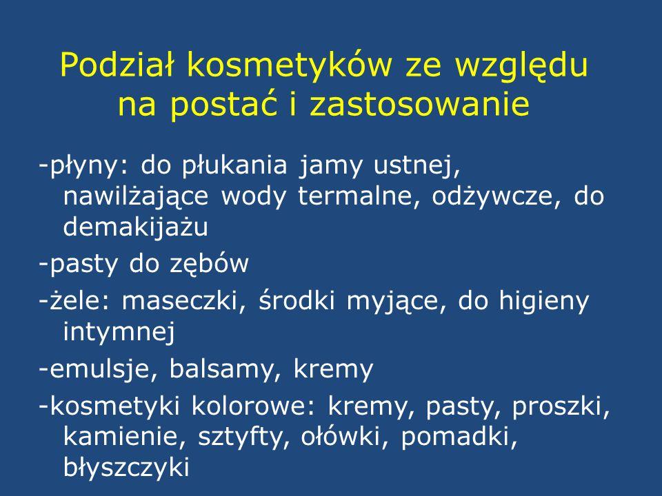 Regulacje prawne -Ustawa z dnia 30 marca 2001 roku o kosmetykach (Dz.