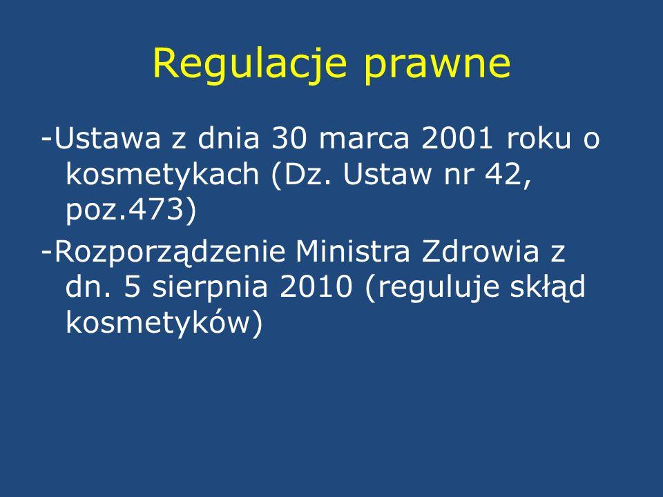 Regulacje prawne -Ustawa z dnia 30 marca 2001 roku o kosmetykach (Dz. Ustaw nr 42, poz.473) -Rozporządzenie Ministra Zdrowia z dn. 5 sierpnia 2010 (re