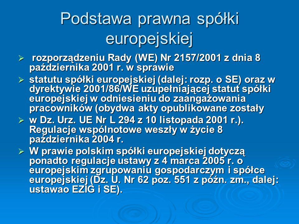 Podstawa prawna spółki europejskiej rozporządzeniu Rady (WE) Nr 2157/2001 z dnia 8 października 2001 r. w sprawie rozporządzeniu Rady (WE) Nr 2157/200