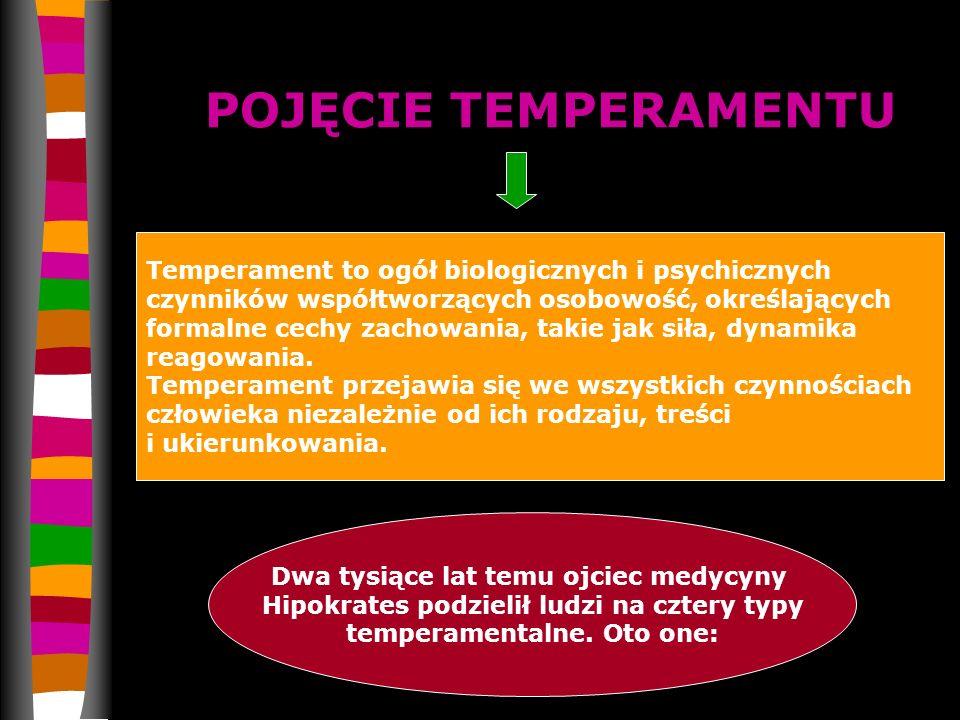 POJĘCIE TEMPERAMENTU Temperament to ogół biologicznych i psychicznych czynników współtworzących osobowość, określających formalne cechy zachowania, ta
