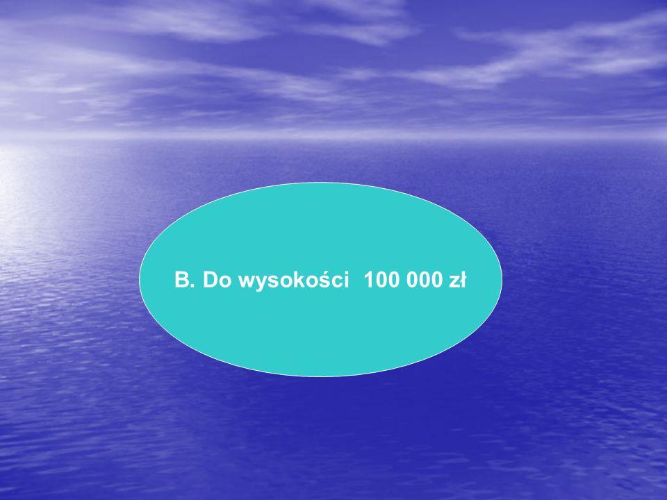 B. Do wysokości 100 000 zł