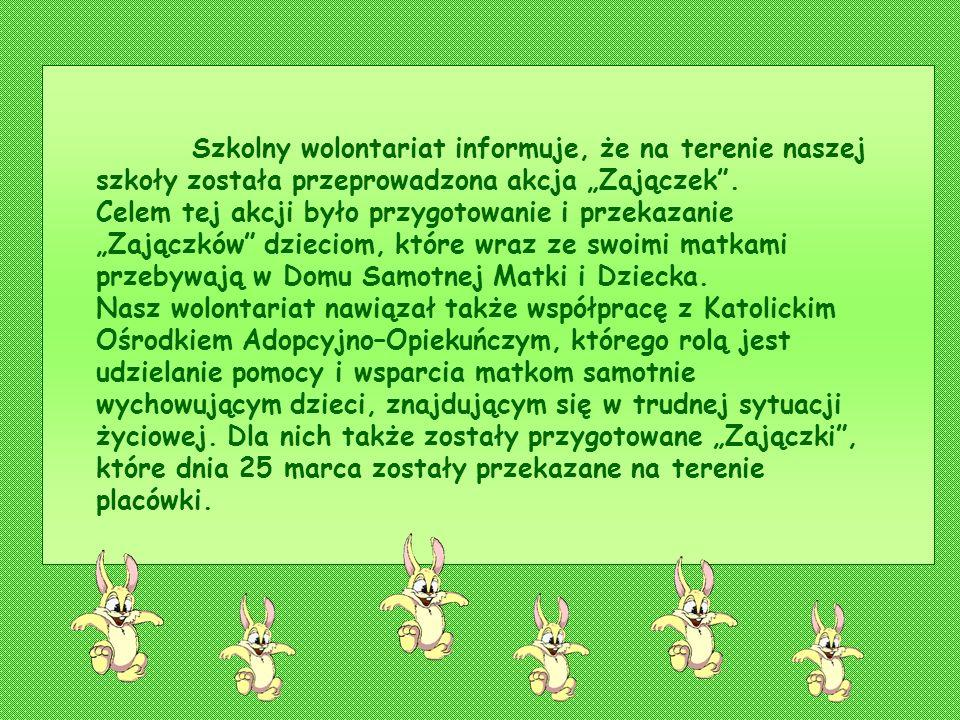 Przygotowanie akcji Zajączek polegało na na tym, że każda klasa chwilowo została rodziną zastępczą jednego dziecka, któremu zobowiązała się przygotować Zajączka.