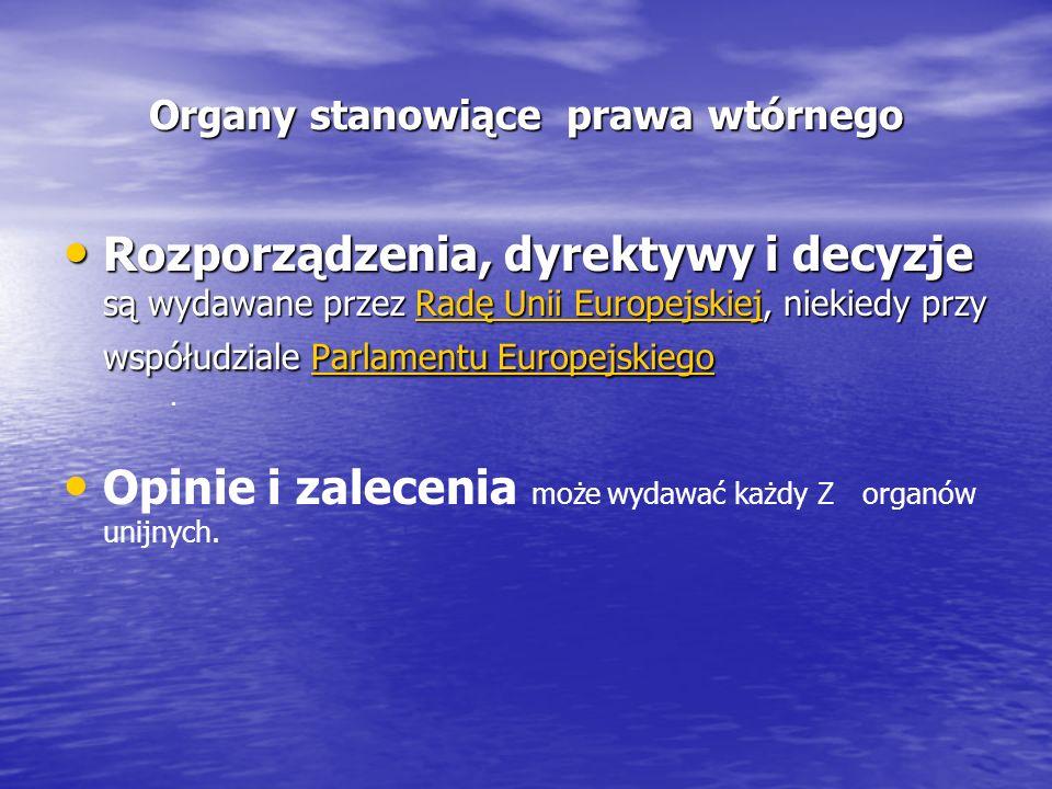 Organy stanowiące prawa wtórnego Rozporządzenia, dyrektywy i decyzje są wydawane przez Radę Unii Europejskiej, niekiedy przy współudziale Parlamentu Europejskiego Rozporządzenia, dyrektywy i decyzje są wydawane przez Radę Unii Europejskiej, niekiedy przy współudziale Parlamentu EuropejskiegoRadę Unii EuropejskiejParlamentu EuropejskiegoRadę Unii EuropejskiejParlamentu Europejskiego Opinie i zalecenia może wydawać każdy Z organów unijnych..