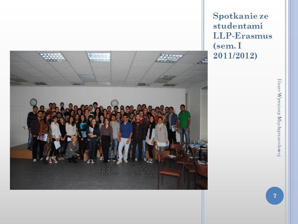 Spotkanie ze studentami LLP-Erasmus (sem. I 2011/2012) 7 Biuro Wymiany Międzynarodowej
