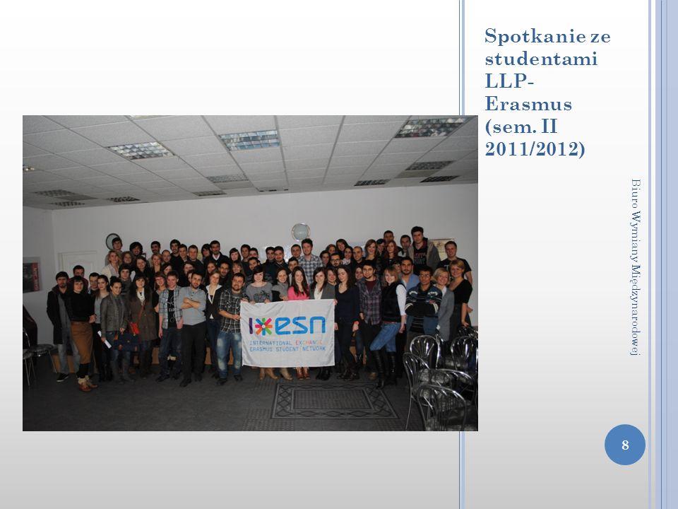 Spotkanie ze studentami LLP- Erasmus (sem. II 2011/2012) 8 Biuro Wymiany Międzynarodowej