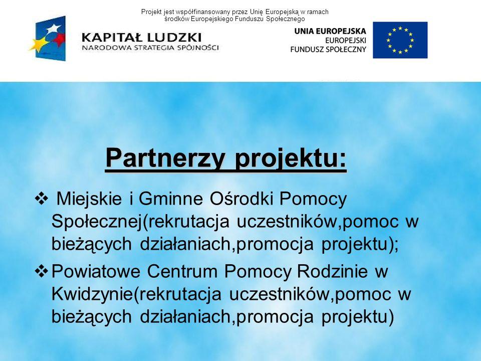 Partnerzy projektu: Miejskie i Gminne Ośrodki Pomocy Społecznej(rekrutacja uczestników,pomoc w bieżących działaniach,promocja projektu); Powiatowe Cen