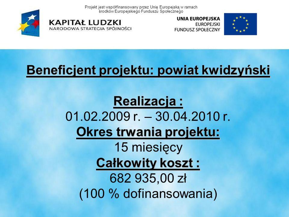 Beneficjent projektu: powiat kwidzyński Realizacja : trwania projektu: Całkowity koszt : Beneficjent projektu: powiat kwidzyński Realizacja : 01.02.20