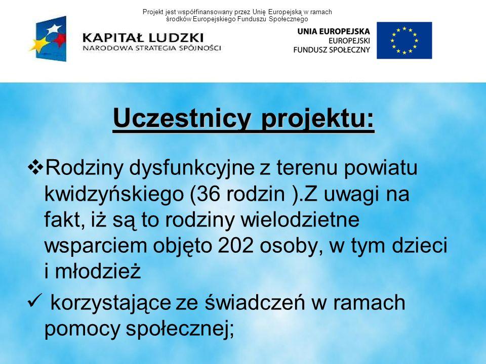Uczestnicy projektu: Rodziny dysfunkcyjne z terenu powiatu kwidzyńskiego (36 rodzin ).Z uwagi na fakt, iż są to rodziny wielodzietne wsparciem objęto