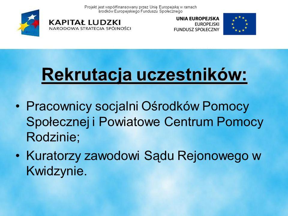 Rekrutacja uczestników: Pracownicy socjalni Ośrodków Pomocy Społecznej i Powiatowe Centrum Pomocy Rodzinie; Kuratorzy zawodowi Sądu Rejonowego w Kwidz