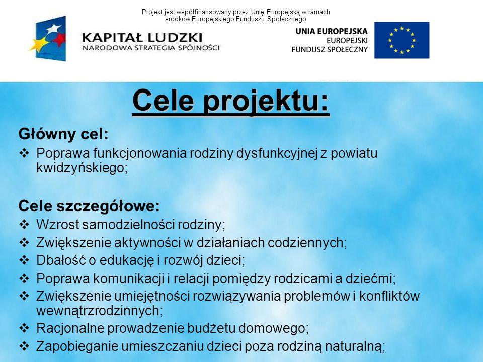 Cele projektu: Główny cel: Poprawa funkcjonowania rodziny dysfunkcyjnej z powiatu kwidzyńskiego; Cele szczegółowe: Wzrost samodzielności rodziny; Zwię