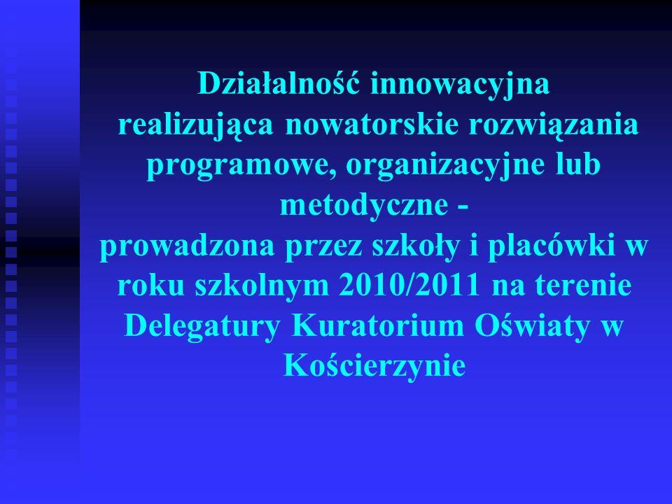 Działalność innowacyjna realizująca nowatorskie rozwiązania programowe, organizacyjne lub metodyczne - prowadzona przez szkoły i placówki w roku szkol