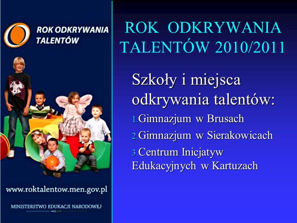 ROK ODKRYWANIA TALENTÓW 2010/2011 Szkoły i miejsca odkrywania talentów: 1. Gimnazjum w Brusach 2. Gimnazjum w Sierakowicach 3. Centrum Inicjatyw Eduka