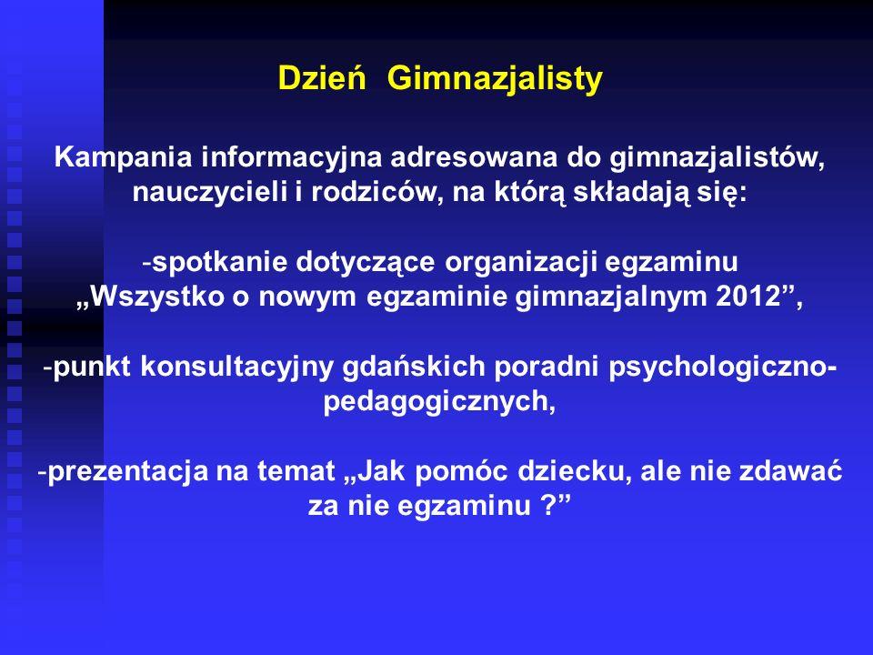 Dzień Gimnazjalisty Kampania informacyjna adresowana do gimnazjalistów, nauczycieli i rodziców, na którą składają się: -spotkanie dotyczące organizacj