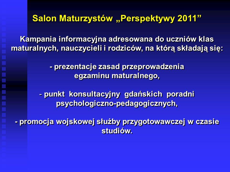 Salon Maturzystów Perspektywy 2011 Kampania informacyjna adresowana do uczniów klas maturalnych, nauczycieli i rodziców, na którą składają się: - prez