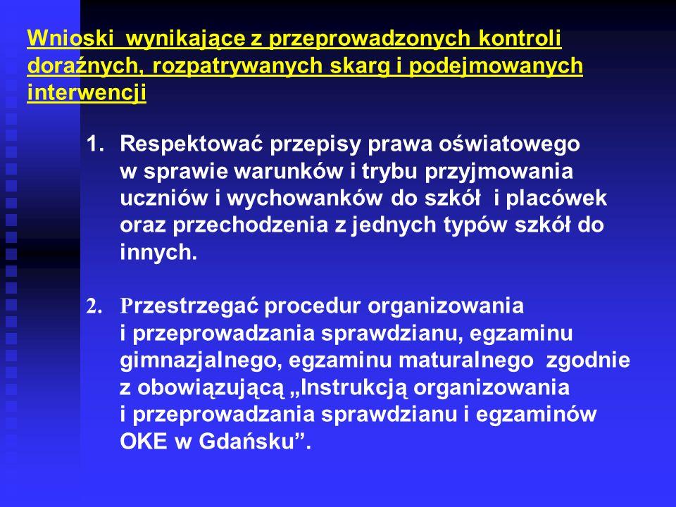 Wnioski wynikające z przeprowadzonych kontroli doraźnych, rozpatrywanych skarg i podejmowanych interwencji 1.Respektować przepisy prawa oświatowego w