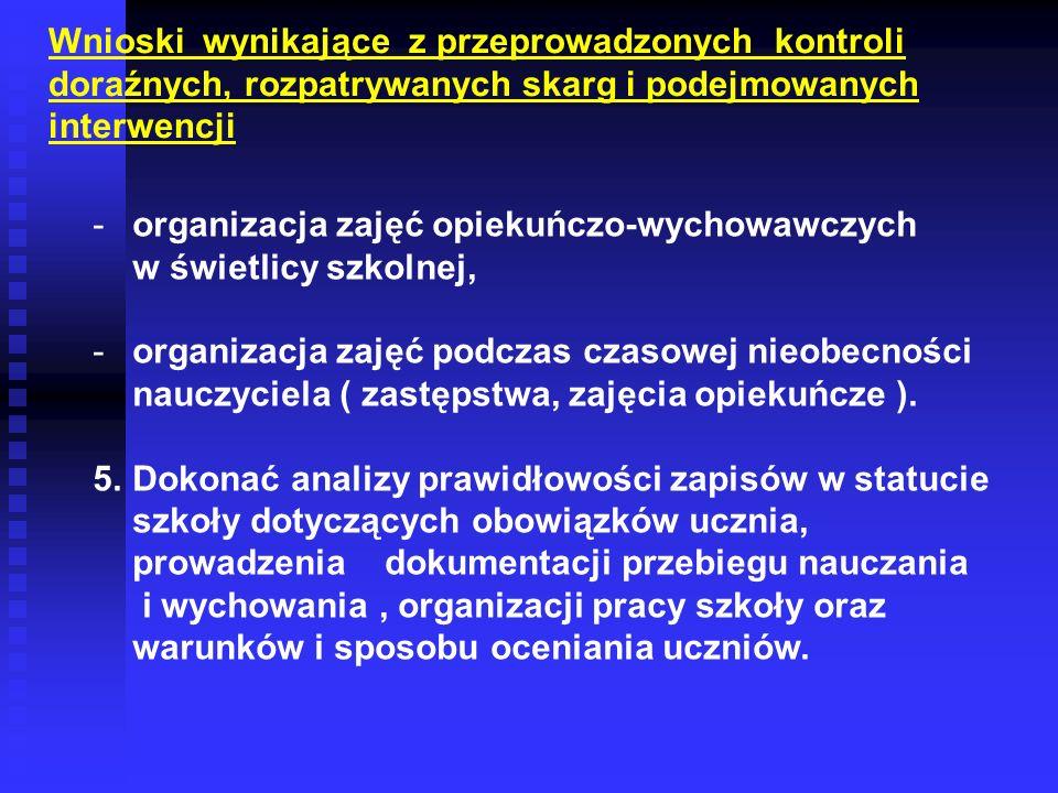 -organizacja zajęć opiekuńczo-wychowawczych w świetlicy szkolnej, -organizacja zajęć podczas czasowej nieobecności nauczyciela ( zastępstwa, zajęcia o