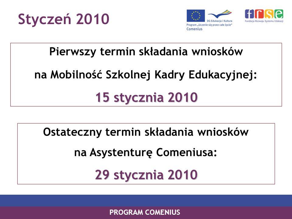 Styczeń 2010 PROGRAM COMENIUS Pierwszy termin składania wniosków na Mobilność Szkolnej Kadry Edukacyjnej: 15 stycznia 2010 Ostateczny termin składania wniosków na Asystenturę Comeniusa: 29 stycznia 2010