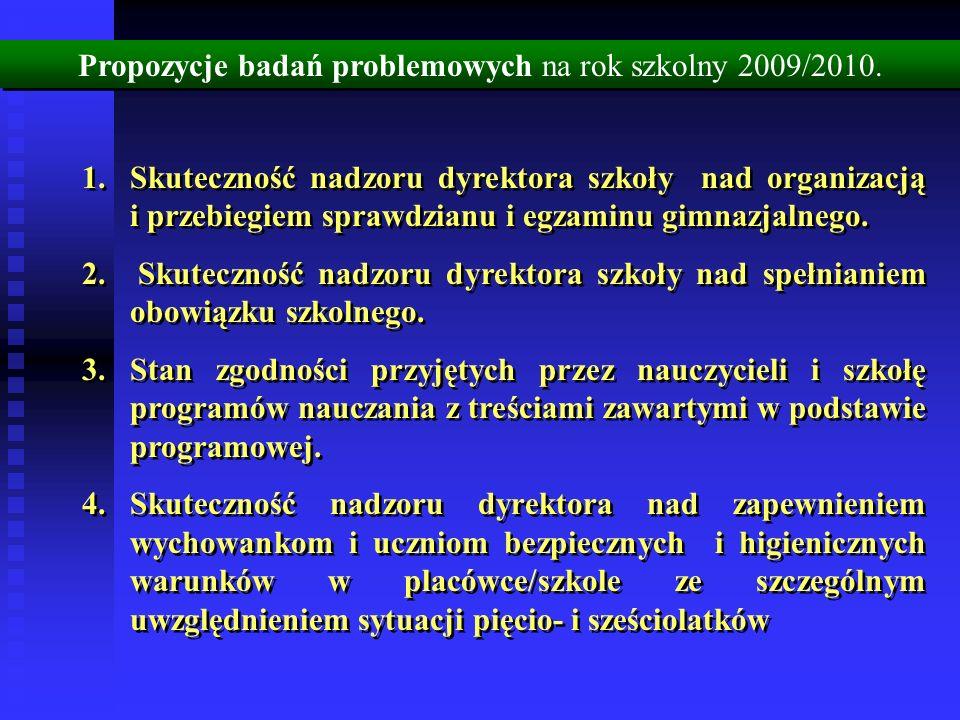 Propozycje badań problemowych na rok szkolny 2009/2010. 1.Skuteczność nadzoru dyrektora szkoły nad organizacją i przebiegiem sprawdzianu i egzaminu gi