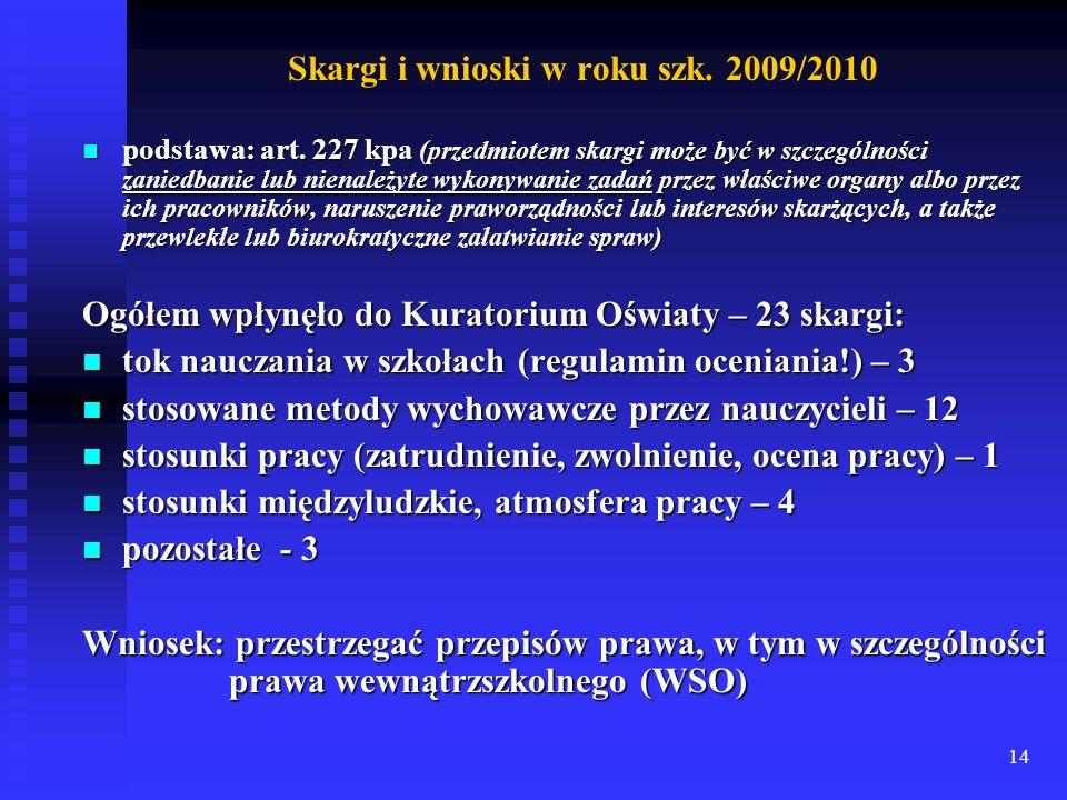 14 Skargi i wnioski w roku szk. 2009/2010 podstawa: art. 227 kpa (przedmiotem skargi może być w szczególności zaniedbanie lub nienależyte wykonywanie
