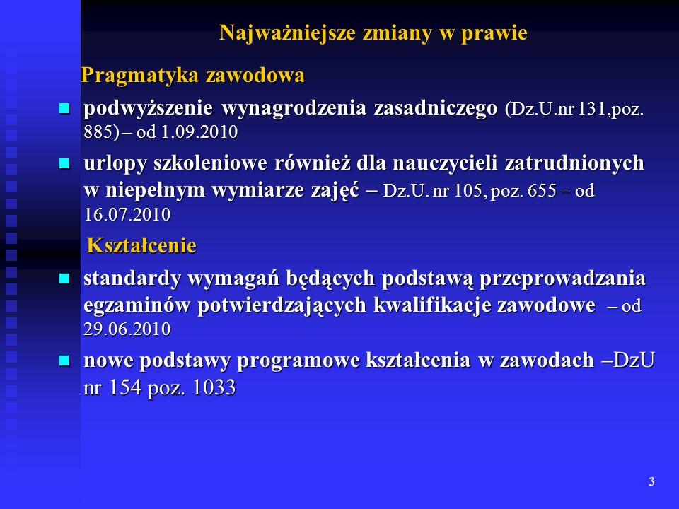 3 Najważniejsze zmiany w prawie Pragmatyka zawodowa Pragmatyka zawodowa podwyższenie wynagrodzenia zasadniczego (Dz.U.nr 131,poz. 885) – od 1.09.2010