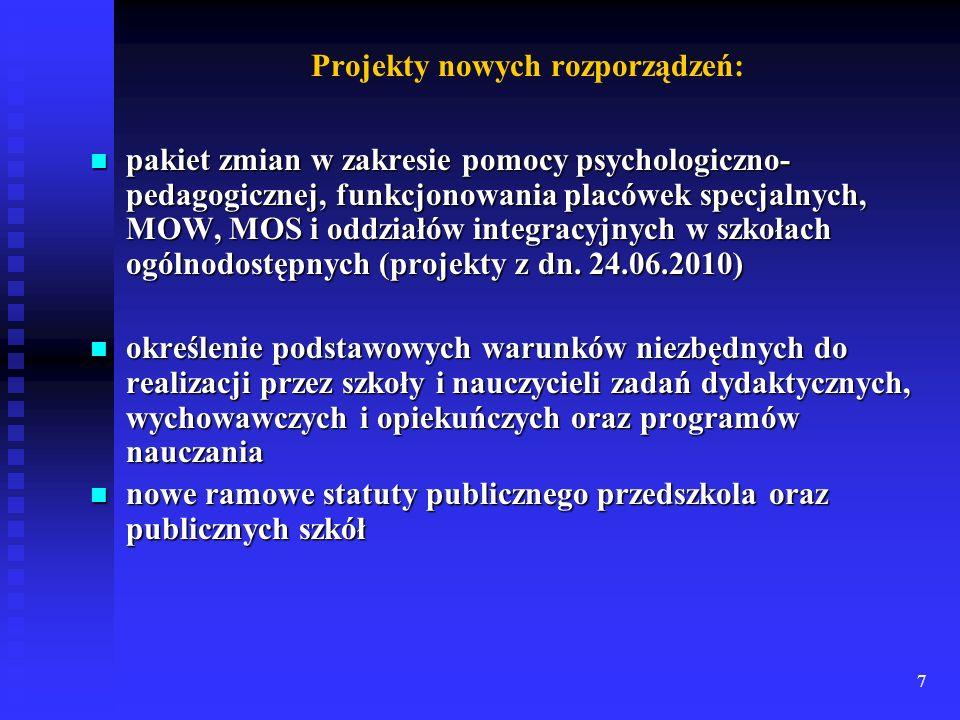 7 Projekty nowych rozporządzeń: pakiet zmian w zakresie pomocy psychologiczno- pedagogicznej, funkcjonowania placówek specjalnych, MOW, MOS i oddziałó
