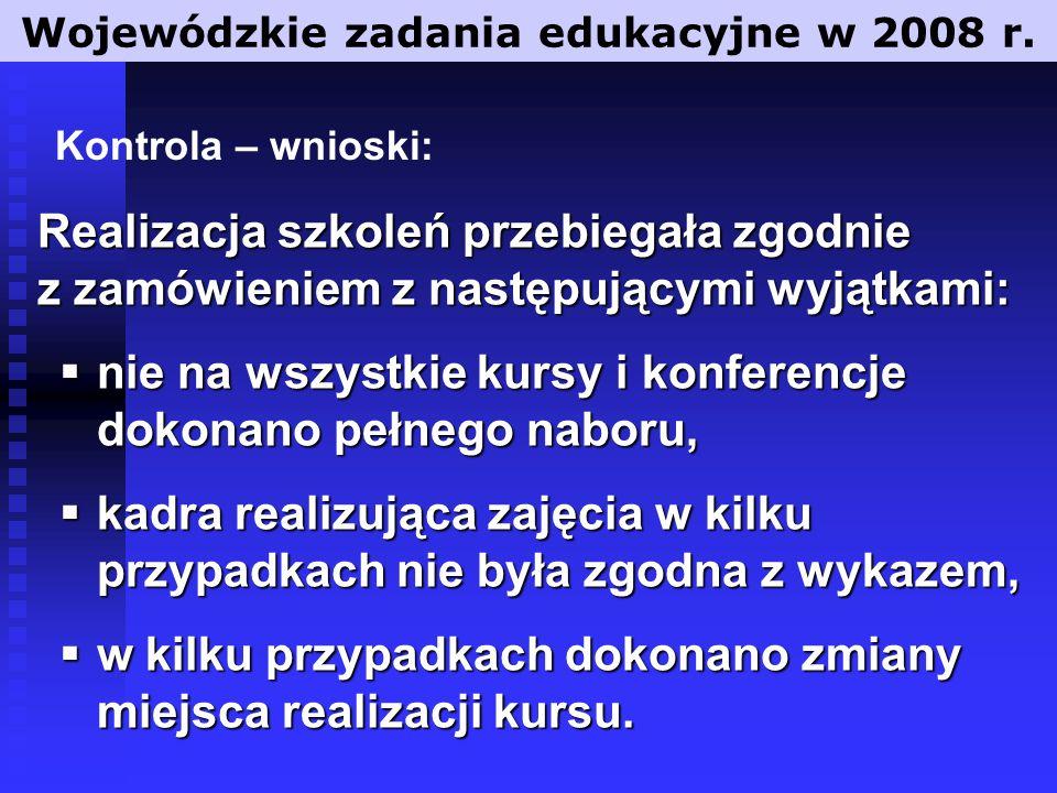 Wojewódzkie zadania edukacyjne w 2008 r.