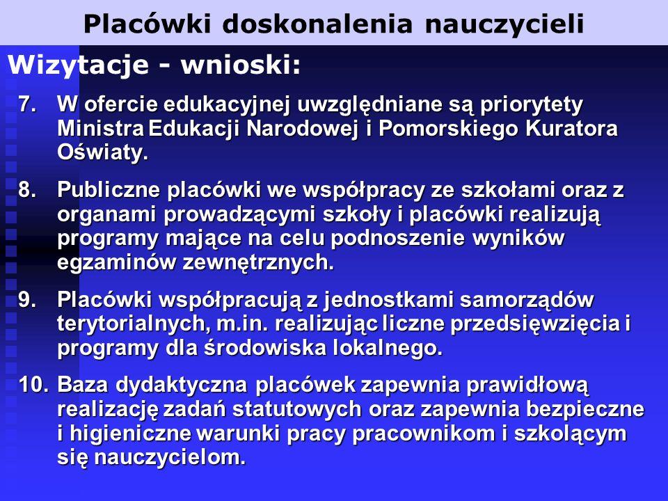 7.W ofercie edukacyjnej uwzględniane są priorytety Ministra Edukacji Narodowej i Pomorskiego Kuratora Oświaty.