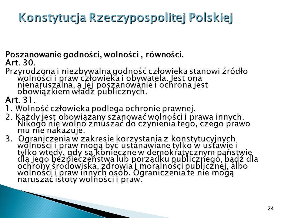 Konstytucja Rzeczypospolitej Polskiej Poszanowanie godności, wolności, równości. Art. 30. Art. 30. Przyrodzona i niezbywalna godność człowieka stanowi