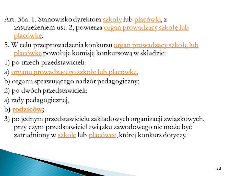 Art. 36a. 1. Stanowisko dyrektora szkoły lub placówki, z zastrzeżeniem ust. 2, powierza organ prowadzący szkołę lub placówkę. szkołyplacówkiorgan prow