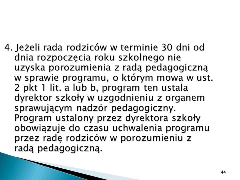 4. Jeżeli rada rodziców w terminie 30 dni od dnia rozpoczęcia roku szkolnego nie uzyska porozumienia z radą pedagogiczną w sprawie programu, o którym