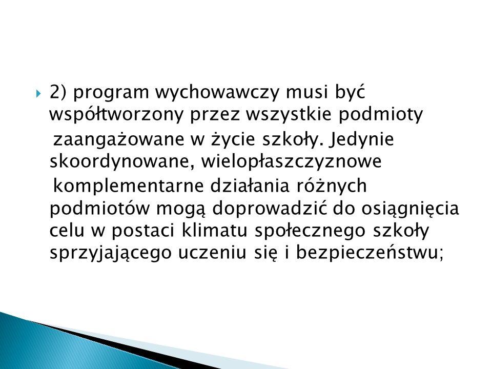 2) program wychowawczy musi być współtworzony przez wszystkie podmioty zaangażowane w życie szkoły. Jedynie skoordynowane, wielopłaszczyznowe kompleme