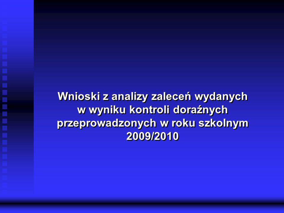 Kuratorium Oświaty w Gdańsku Delegatura w Tczewie 12 Wnioski z analizy zaleceń wydanych w wyniku kontroli doraźnych przeprowadzonych w roku szkolnym 2