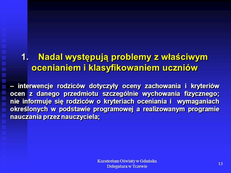 Kuratorium Oświaty w Gdańsku Delegatura w Tczewie 13 1. Nadal występują problemy z właściwym ocenianiem i klasyfikowaniem uczniów – interwencje rodzic