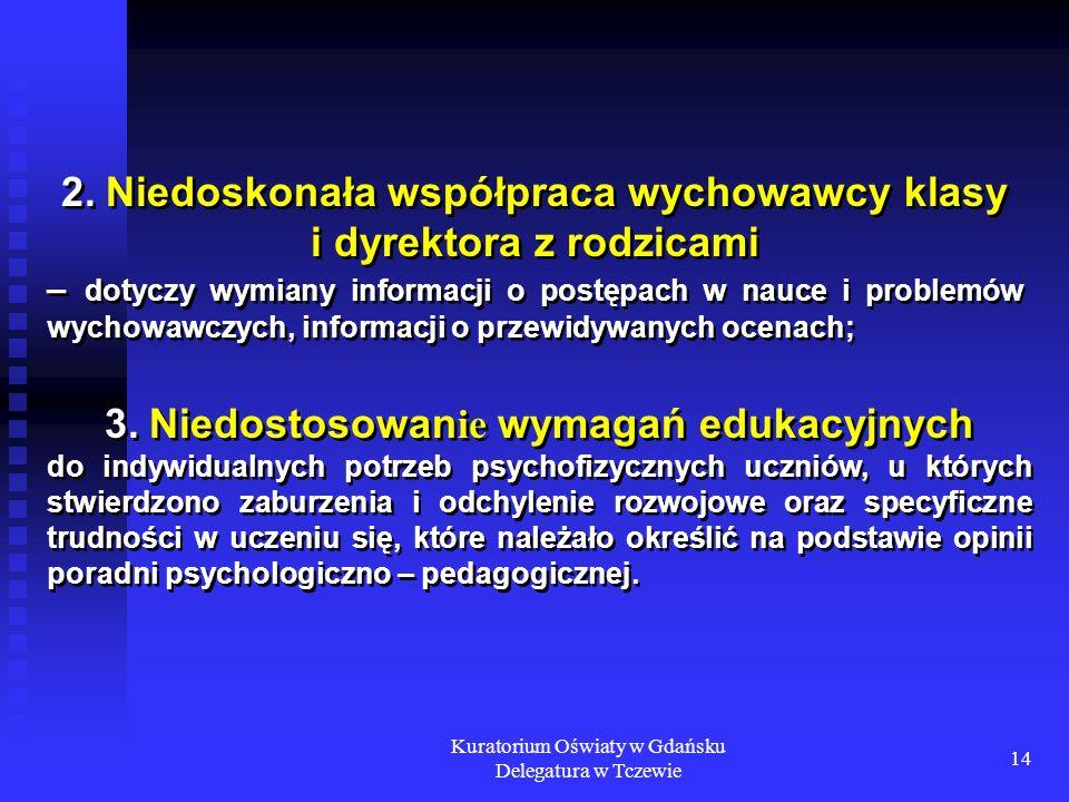 Kuratorium Oświaty w Gdańsku Delegatura w Tczewie 14 2. Niedoskonała współpraca wychowawcy klasy i dyrektora z rodzicami – dotyczy wymiany informacji