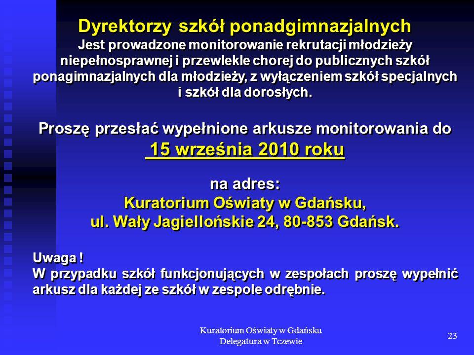 Kuratorium Oświaty w Gdańsku Delegatura w Tczewie 23 Dyrektorzy szkół ponadgimnazjalnych Jest prowadzone monitorowanie rekrutacji młodzieży niepełnosp