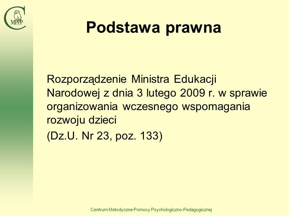 Centrum Metodyczne Pomocy Psychologiczno-Pedagogicznej Podstawa prawna Rozporządzenie Ministra Edukacji Narodowej z dnia 3 lutego 2009 r. w sprawie or