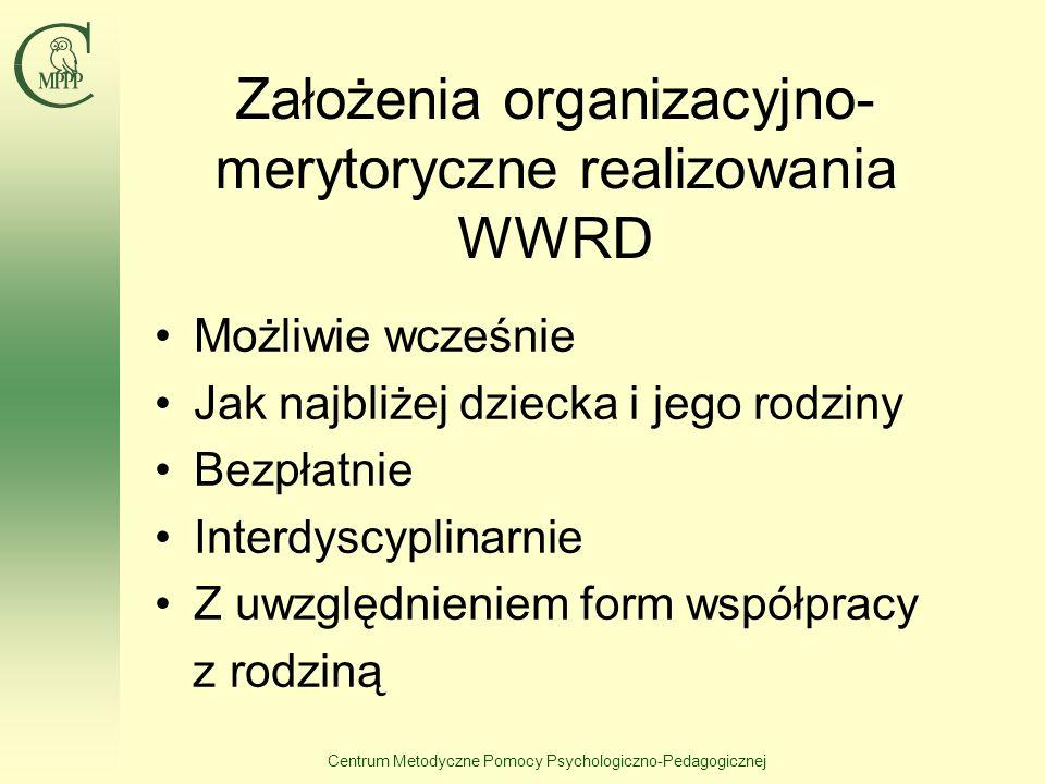 Centrum Metodyczne Pomocy Psychologiczno-Pedagogicznej Założenia organizacyjno- merytoryczne realizowania WWRD Możliwie wcześnie Jak najbliżej dziecka