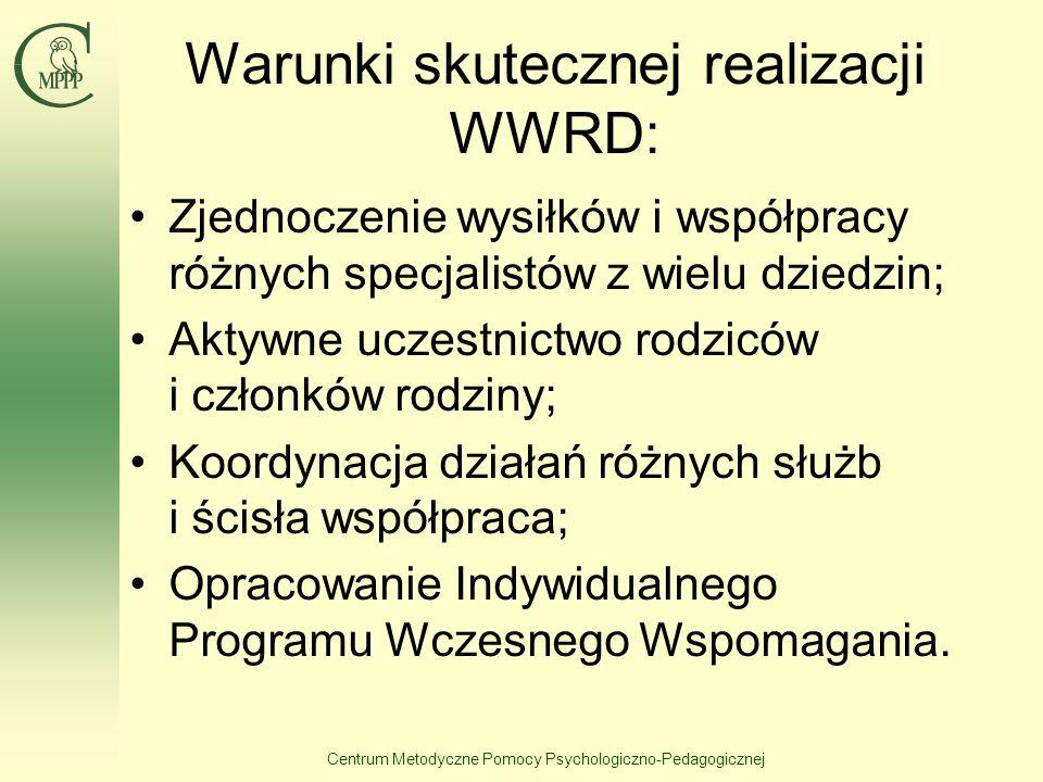 Centrum Metodyczne Pomocy Psychologiczno-Pedagogicznej Warunki skutecznej realizacji WWRD: Zjednoczenie wysiłków i współpracy różnych specjalistów z w