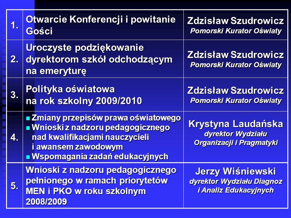 1. Otwarcie Konferencji i powitanie Gości Zdzisław Szudrowicz Pomorski Kurator Oświaty 2.