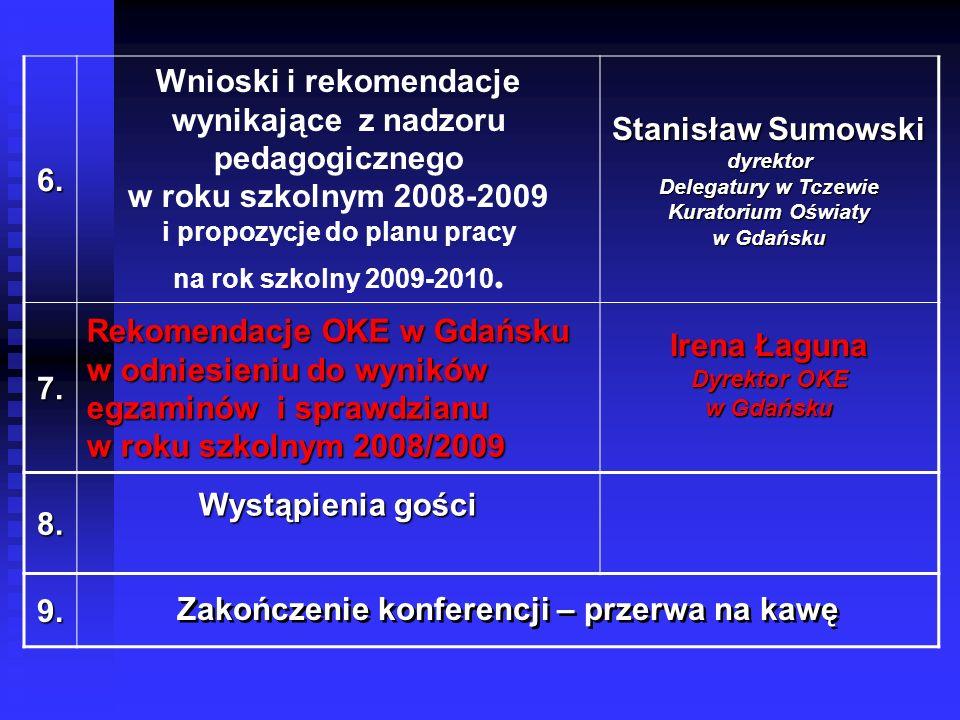 6. Wnioski i rekomendacje wynikające z nadzoru pedagogicznego w roku szkolnym 2008-2009 i propozycje do planu pracy na rok szkolny 2009-2010. Stanisła