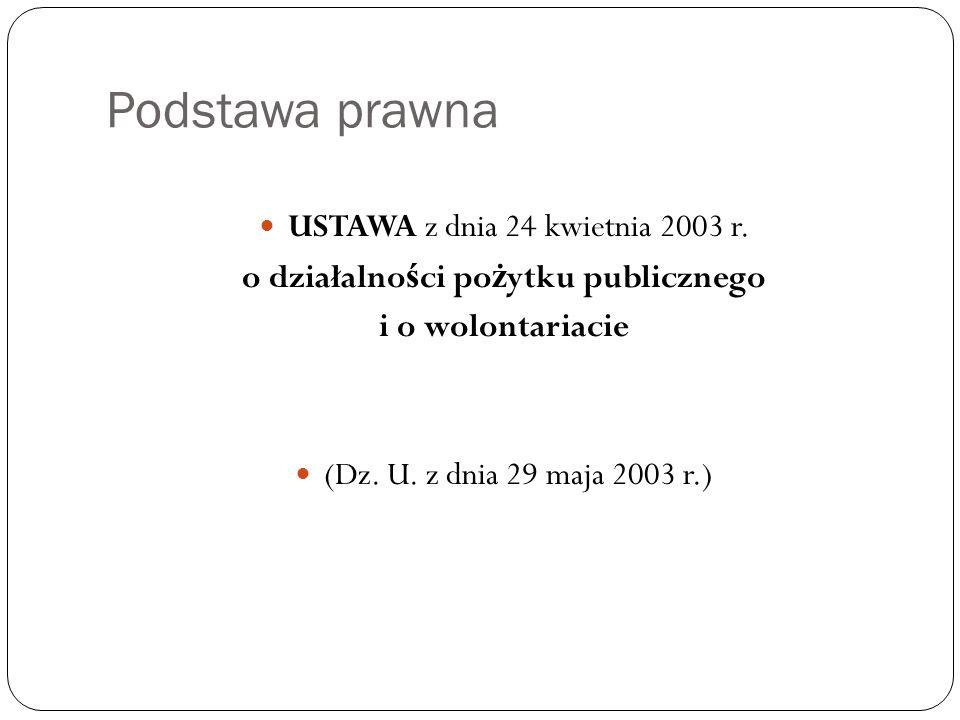 Podstawa prawna USTAWA z dnia 24 kwietnia 2003 r. o działalno ś ci po ż ytku publicznego i o wolontariacie (Dz. U. z dnia 29 maja 2003 r.)