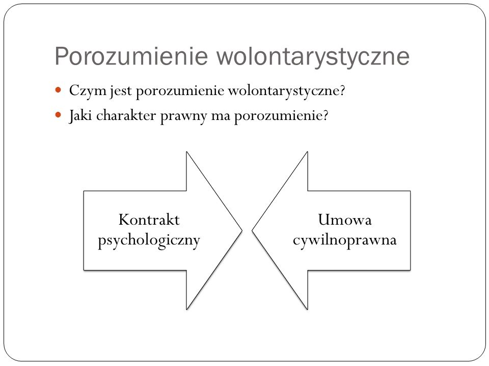 Porozumienie wolontarystyczne Czym jest porozumienie wolontarystyczne? Jaki charakter prawny ma porozumienie? Kontrakt psychologiczny Umowa cywilnopra