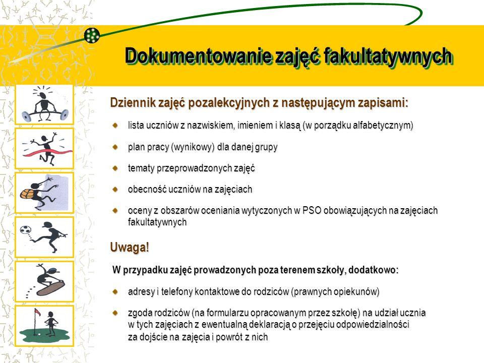 Dokumentowanie zajęć fakultatywnych Dziennik zajęć pozalekcyjnych z następującym zapisami: lista uczniów z nazwiskiem, imieniem i klasą (w porządku al