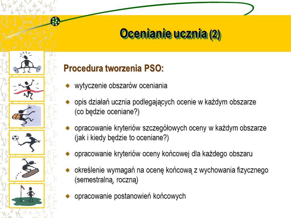 Ocenianie ucznia (2) Procedura tworzenia PSO: wytyczenie obszarów oceniania opis działań ucznia podlegających ocenie w każdym obszarze (co będzie ocen