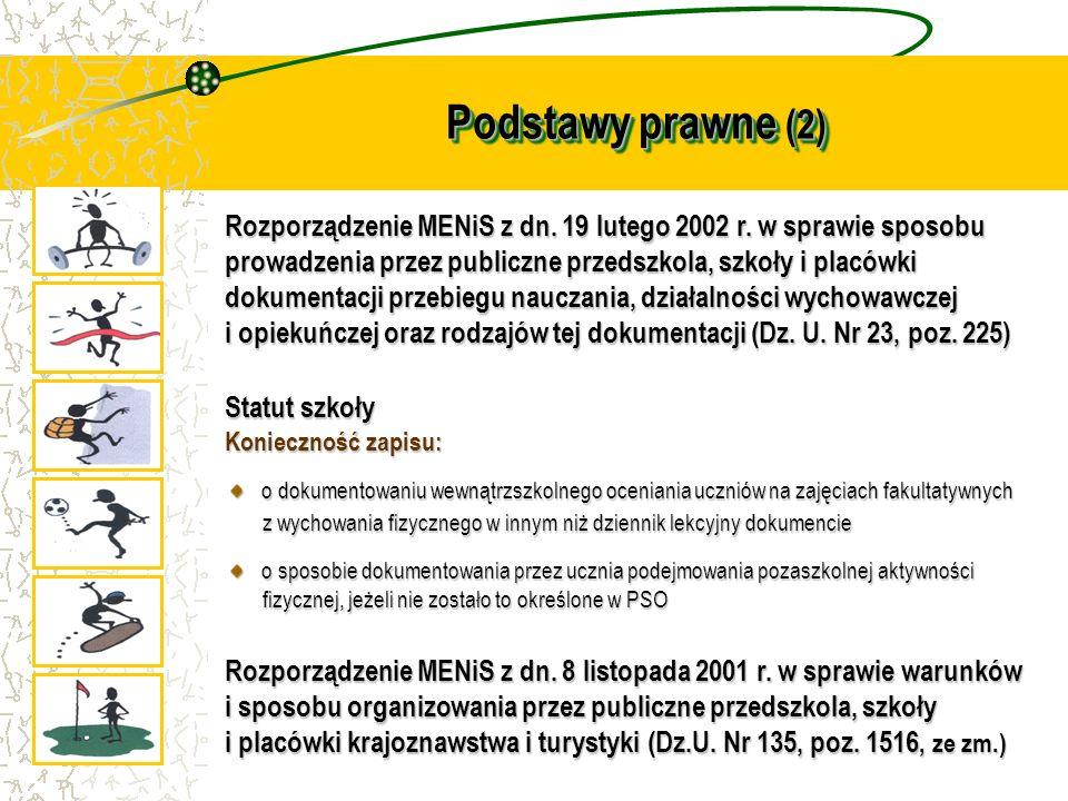 Podstawy prawne (2) Rozporządzenie MENiS z dn. 19 lutego 2002 r. w sprawie sposobu prowadzenia przez publiczne przedszkola, szkoły i placówki dokument