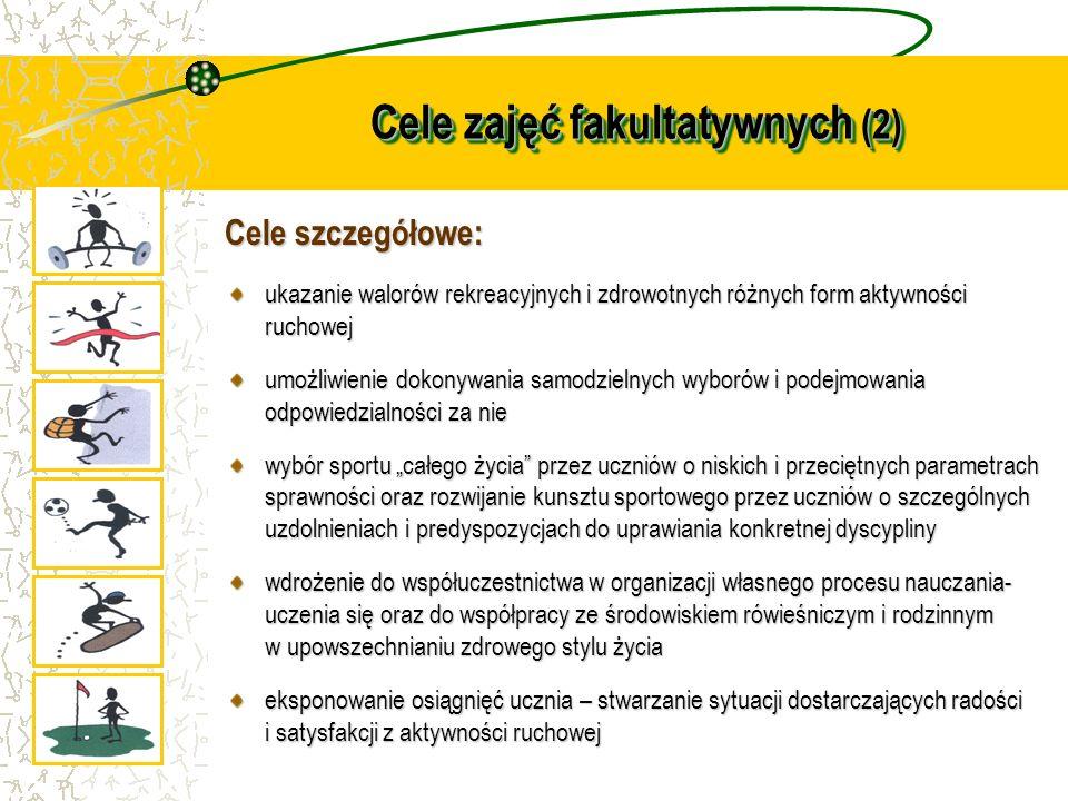Cele zajęć fakultatywnych (2) Cele szczegółowe: ukazanie walorów rekreacyjnych i zdrowotnych różnych form aktywności ruchowej umożliwienie dokonywania
